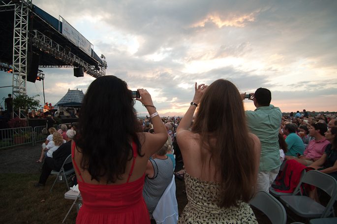 Fans taking picture of Sunset